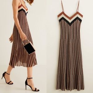NEW MANGO Metallic striped dress